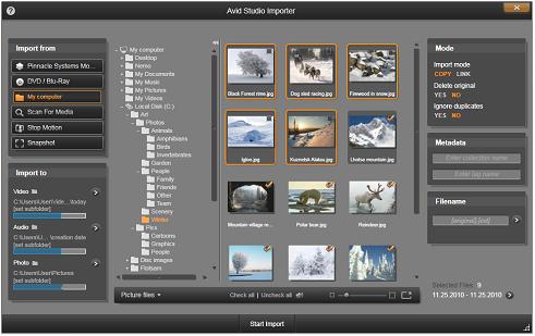 Avid Studio image001 Valg af filer til importering