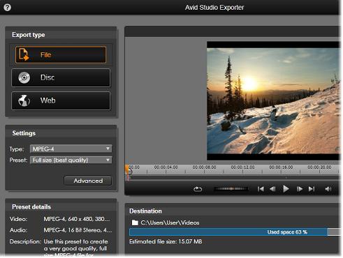 Avid Studio image002 Eksportøren