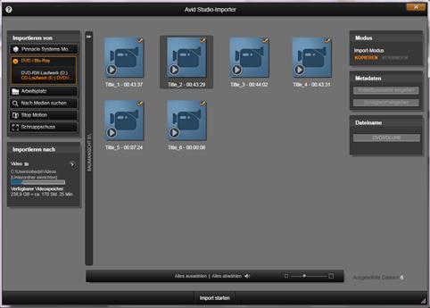 Avid Studio image002 Verwenden des Importers