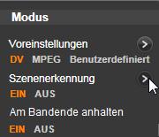 Avid Studio image001 Das Panel 'Modus'