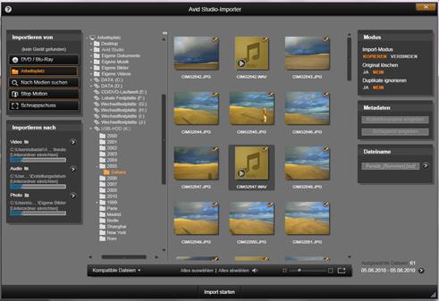 Avid Studio image001 Auswählen von Dateien für den Import