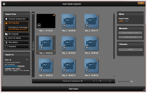 Avid Studio image002 Using the Importer