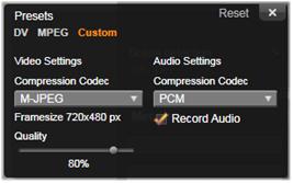 Avid Studio image001 The Compression Options window