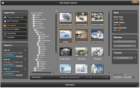 Avid Studio image001 Selecting files for Import