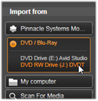 Avid Studio image001 Import from DVD or Blu ray Disc