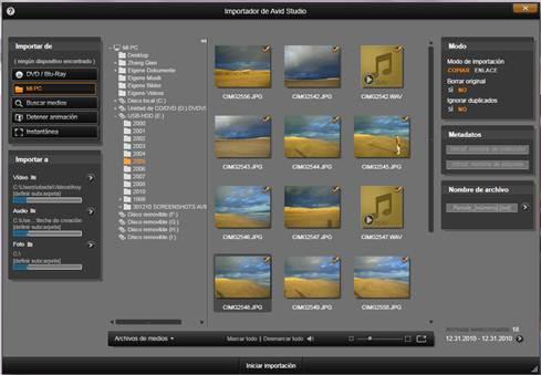 Avid Studio image002 Usar el Importador