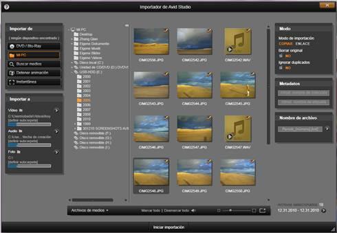 Avid Studio image001 Seleccionar archivos a importar