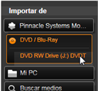 Avid Studio image001 Importar desde disco DVD o Blu ray