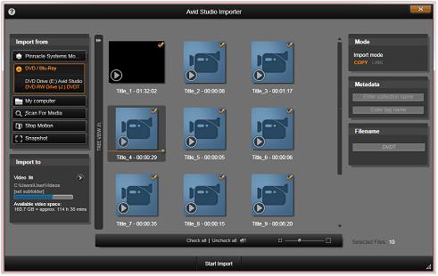 Avid Studio image002 Importerin käyttäminen