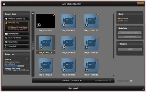 Avid Studio image002 Utiliser la fenêtre d'import