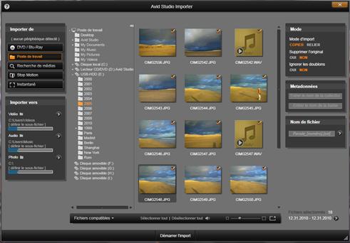 Avid Studio image001 Sélectionner des fichiers à importer