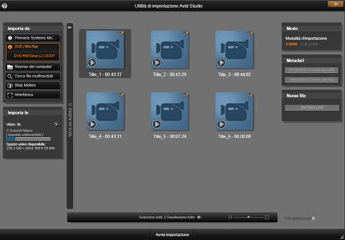 Avid Studio image002 Uso dellutilità di importazione