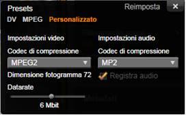 Avid Studio image001 Finestra Opzioni di compressione