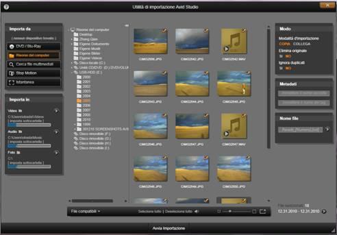 Avid Studio image001 Selezione dei file per limportazione