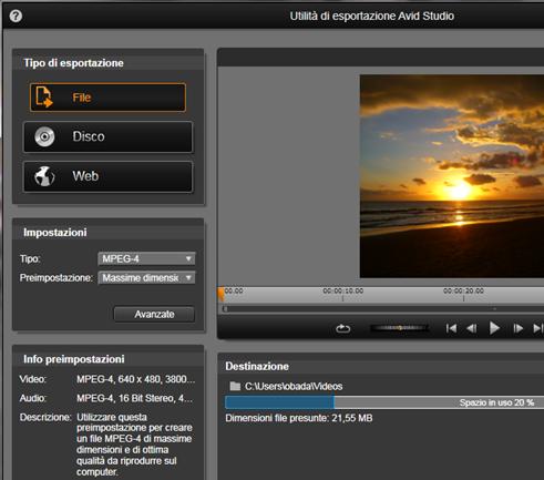 Avid Studio image002 Utilità di esportazione