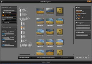 Avid Studio image001 Bestanden selecteren voor importeren