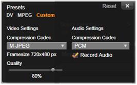 Avid Studio image001 Vindu for kompresjonsalternativer