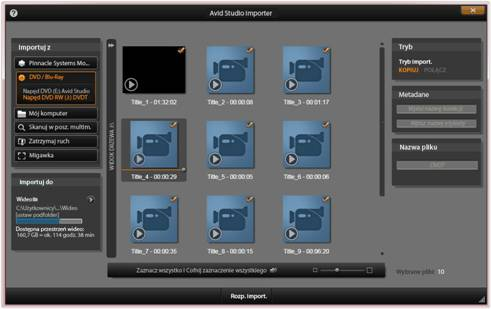 Avid Studio image002 Korzystanie z modułu Importer