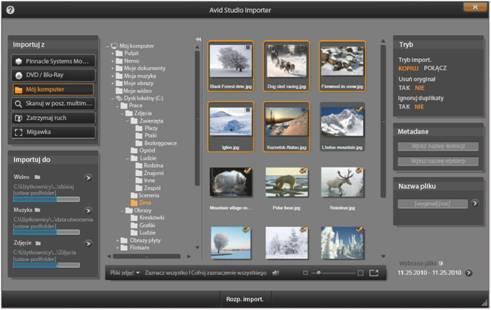Avid Studio image001 Wybór plików do zaimportowania