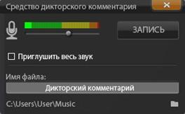 Avid Studio image002 Инструмент «Дикторский комментарий»
