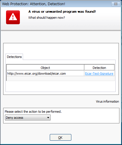 Avira detection webguard Web Protection