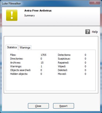 Avira scanner main statistic Luke Filewalker