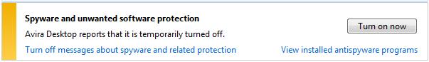 Avira wac desktop off Windows Action Center