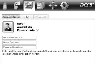 Acer Bio Protection 025.zoom60 Ändern Ihres Windows Passwords