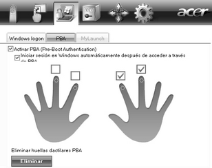 Acer Bio Protection 026.zoom60 (Opcional) Pre Boot Authentication (PBA)