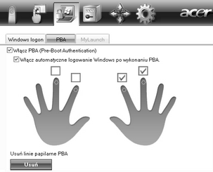 Acer Bio Protection 026.zoom60 (Opcja) Pre Boot Authentication (PBA)
