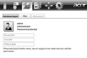 Acer Bio Protection 025.zoom60 Windows şifrenizin değiştirilmesi