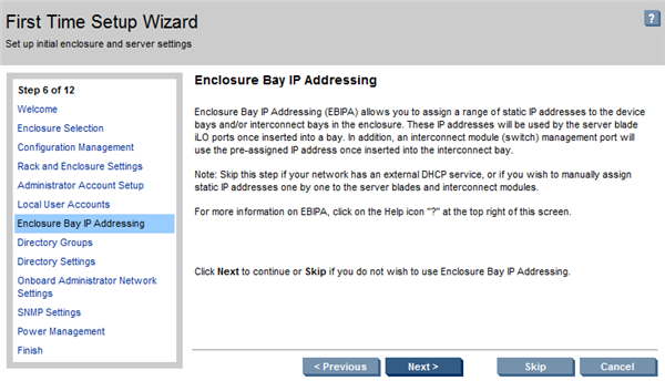 HP BladeSystem 107593 Enclosure Bay IP addressing