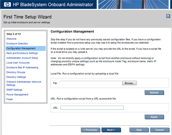 HP BladeSystem 107649 Configuration Management screen