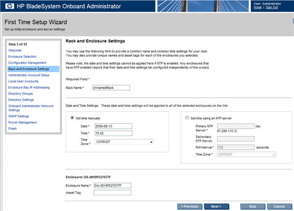 HP BladeSystem 107651 Rack and Enclosure Settings screen