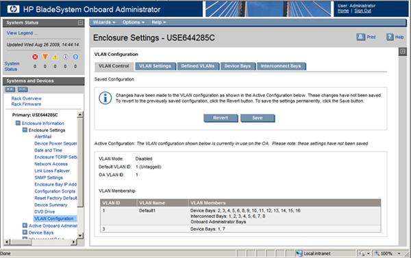 HP BladeSystem 110855 VLAN settings