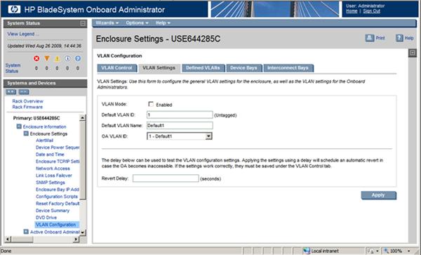 HP BladeSystem 110856 VLAN settings