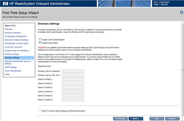 HP BladeSystem 110947 Directory Settings screen