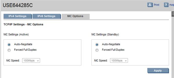 HP BladeSystem 110952 NIC Options tab