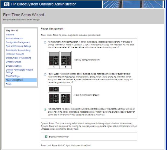 HP BladeSystem 111029 Power Management screen