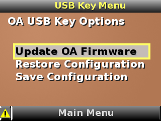 HP BladeSystem 112297 USB Menu screen