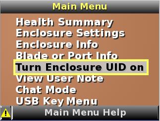 HP BladeSystem 112301 Turn Enclosure UID On/Off screen