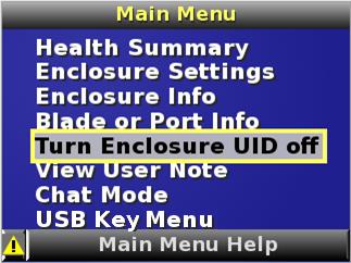HP BladeSystem 112302 Turn Enclosure UID On/Off screen