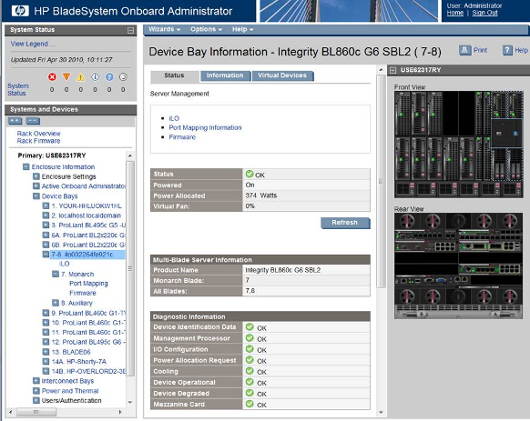 HP BladeSystem 119030 Tree view and graphical view changes for HP Integrity i2 Server Blades