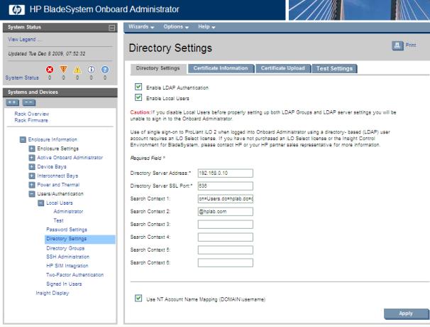HP BladeSystem 124096 Preparing the directory