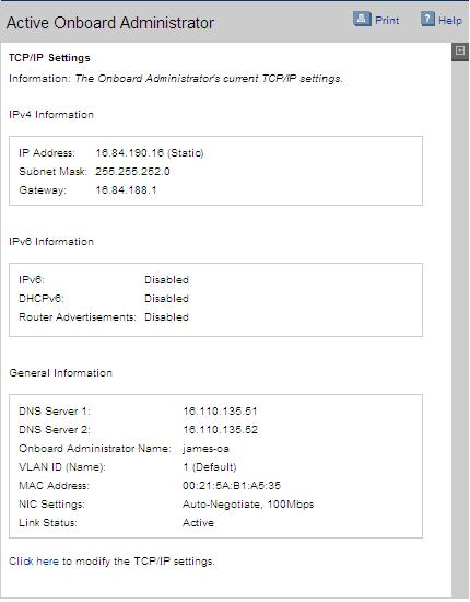 HP BladeSystem 125168 TCP/IP Settings screen