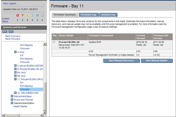 HP BladeSystem 137565 Device Bay Status tab