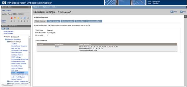HP BladeSystem 152101 VLAN Configuration