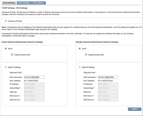 HP BladeSystem 152483 IPv4 Settings tab