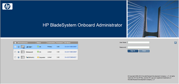 HP BladeSystem 153125 Signing in to the Onboard Administrator GUI