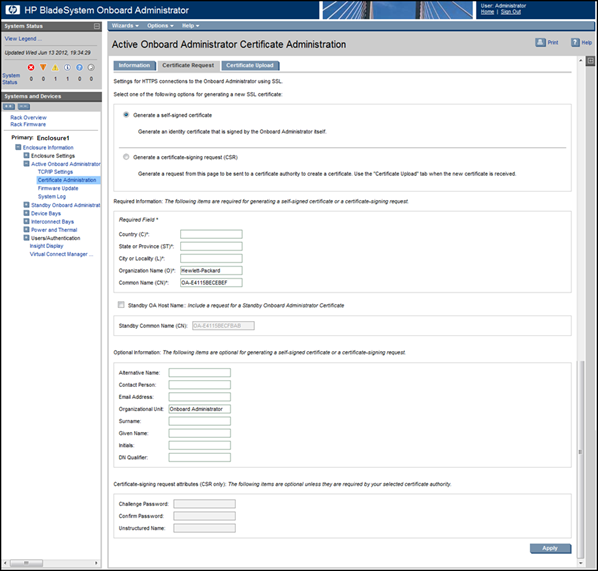 HP BladeSystem 153181 Certificate Request tab